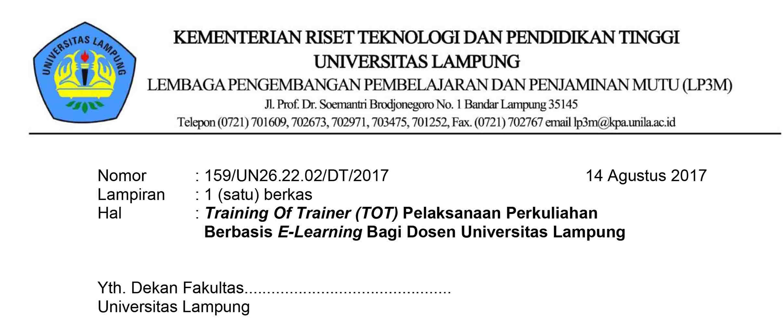 Undangan Pelaksanaan Perkuliahan Berbasis E-Learning