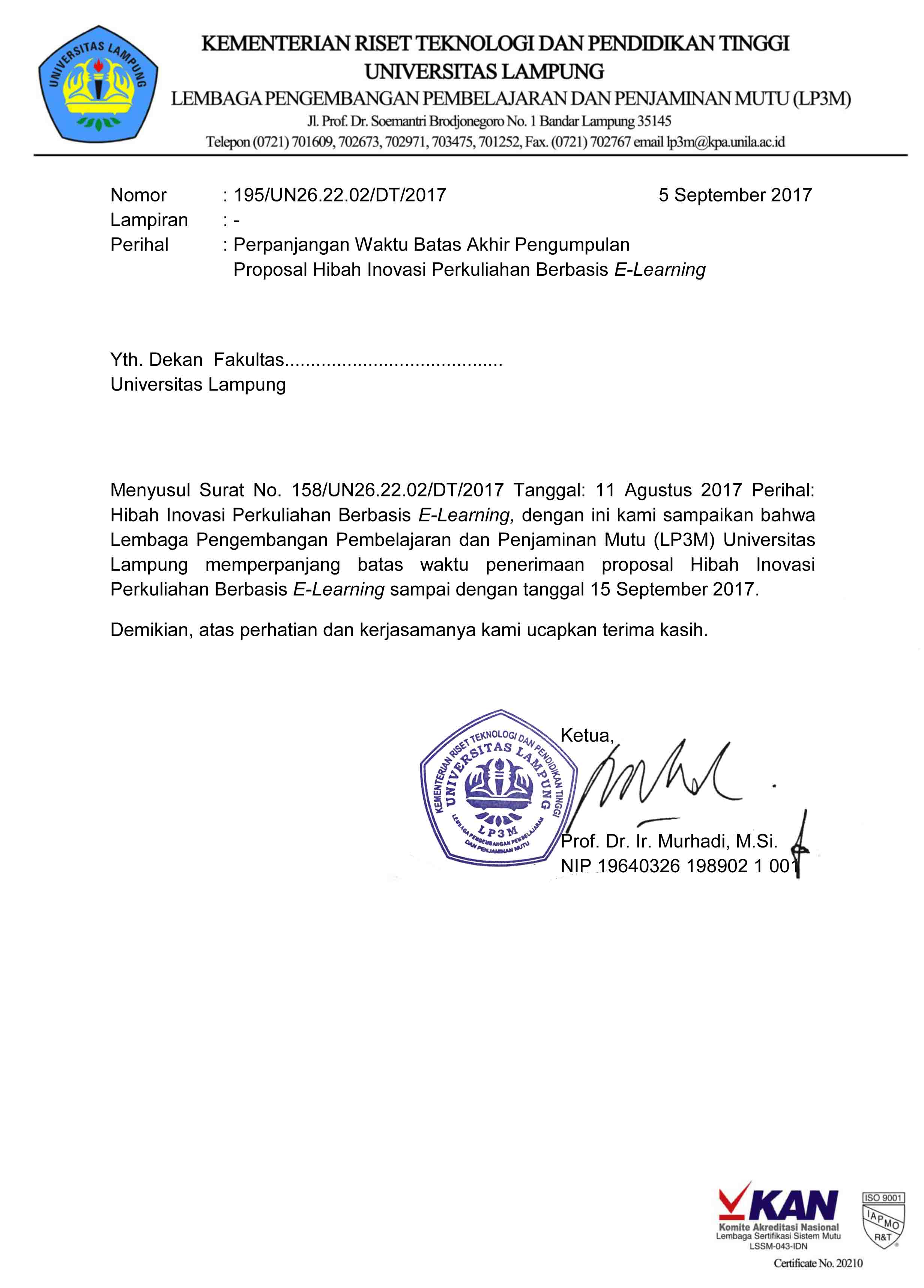 Perpanjangan batas waktu penerimaan proposal